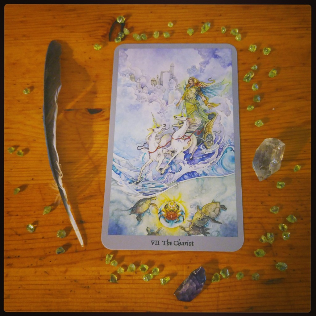 from the Shadowscapes Tarot (arranged with peridot, amethyst and smoky quartz)