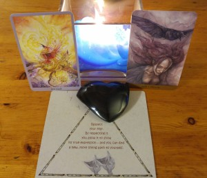Rainbow Obsidian, plus the Shadowscapes Tarot, the Tarot of the Hidden Realm and the Ravens Cards
